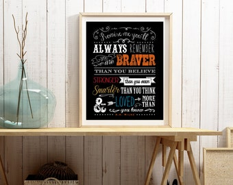 Promise me you'll always remember - Based on the A.A. Milne quote - Vertical Print - Custom Colors Upon Request - Frame Not Included