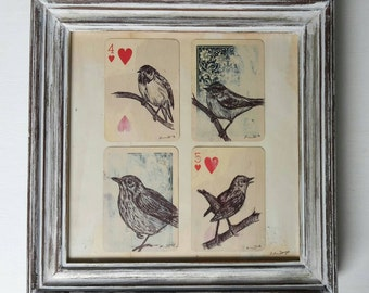 Four of a Kind Origanal Artwork Garden Birds Drawing on Collage Vintage Playing Cards Framed in A Vintage Frame.