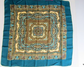 GORGEOUS Vintage Liberty of London Teal Cream Brown Paisley Silk Scarf