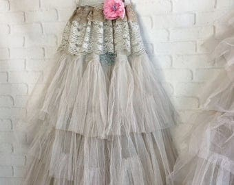 pale taupe tulle boho wedding dress by mermaid miss Kristin