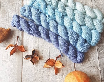 Mini Skein Set, hand dyed yarn, 5 x 20g skeins, sparkle sock, 4ply or DK, Yorkshire Dale Yarns, Midnight Sky colourway, UK indie dyer.