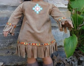 18 Inch American Girl doll Clothes Kaya Native American dress and bowl by Project Funway on Etsy