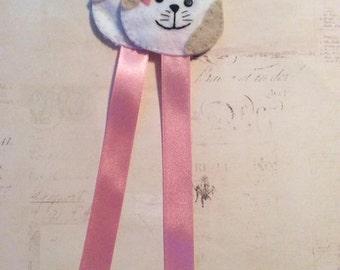 Pretty Embroidered felt bookmark - Cat