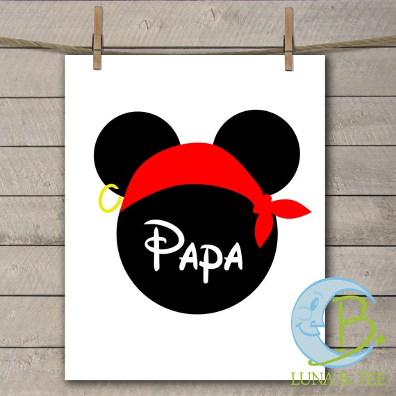 INSTANT DOWNLOAD Disney Family Vacation Cruise Pirate Night Papaw Papa Grandpa Shirts Digital Printable DIY Iron On to Tee T-Shirt Transfer