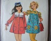vintage 1970s Simplicity sewing pattern 9954 girls smock dress size 14