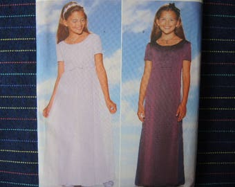 vintage 1990s Butterick sewing pattern 5383 Girls dress size 7-8-10