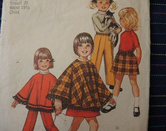 vintage 1970s Simplicity sewing pattern 9531 baby's jiffy skirt pants and poncho size 1