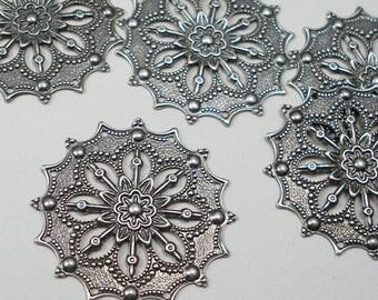 Set of 10 - Filigree Stampings - Antiqued Silvertone Flower Focal - 34mm - 8 Holes