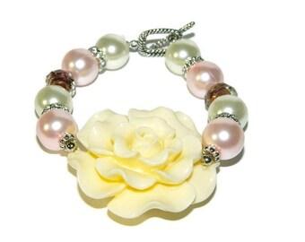 Bracelet With Big Beads, Pearl Bracelet, Beaded Bracelet, Bracelet With Big Flower, Bridal Bracelet