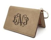 ID Monogram Keychain, Personalized Keychain Sweet Sixteen Present, Key Chain for Women, ID Badge Holder, Leatherette Key Chain, ID Wallet