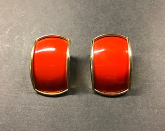 Vintage 80's earrings , Big Red Earrings , Christmas earrings , Red earrings , Rockabilly earrings ,