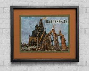 Skyrim Poster | Dragonsreach travel poster | Vintage travel poster | Videogame art