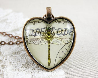 Dragonfly Pendant, 1991 Germany Postage Stamp Jewelry, Neutral Everyday Heart Shaped Necklace, Insect, Vintage Copper, Unique Gift Idea
