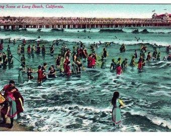 Antique Vintage Edwardian Color Photo Postcard Bathing Scene Long Beach California On The Road of a 1000 Wonders 1911