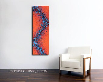 CUSTOM abstract Painting / Fire and Ice / Textured painting/ (48 x 16) / Vibrant colors /  Palette knife painting/ Red, Blue,