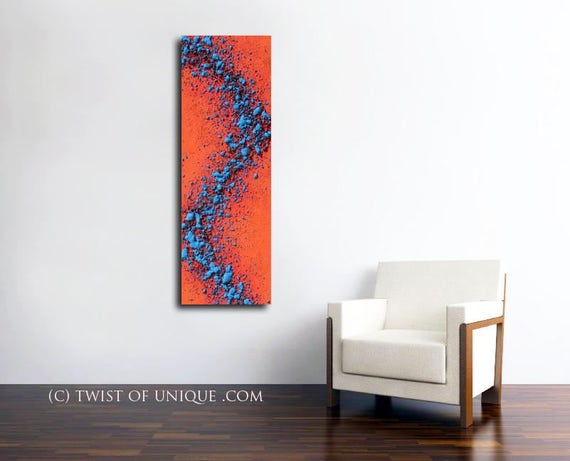 First edition abstract Painting /ORIGINAL/ 1st painting/  Textured painting/ (48 x 16) / Palette knife painting/ Red, Blue,