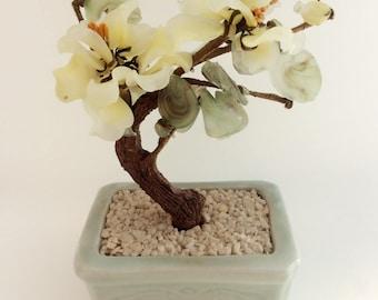 Pure Kitsch! Yellow Cream Glass Bonsai Tree- 1960's Jewellery Holder