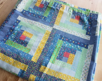 Vintage cotton faux patchwork shower curtain made by Jaxson, Country Home, Shabby Chic,Blue, white, yellow, pink, green, RARE Gem!