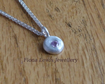 Pebble necklace,  recycled silver and pink sapphire necklace, Fiona Lewis hand made in UK