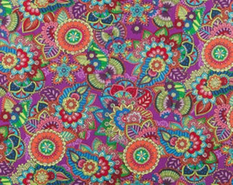 FABRIC-Purple Floral by the Yard-Quilt Fabric-Apparel Fabric-Home Decor Fabric-Fat Quarter-Craft Fabric-Fat Quarters