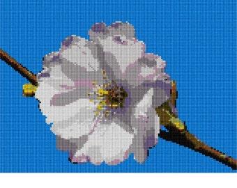 Needlepoint Kit or Canvas: Single Cherry Blossom