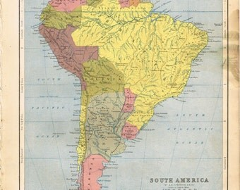 Antique vintage Victorian, Hand Atlas General and Descriptive Geography A. Keith Johnson 1852, colour color print map  - South America