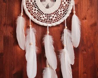Dream Catcher - Sunbath - Boho Dreamcatcher with Crochet Web and White Feathers - Unique Bohemian Home Decor, Nursery or Wedding Gift