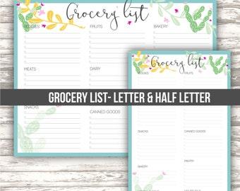 Grocery list • letter & half letter sizes•  Cactus design collection • DIGITAL printable