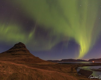 Northern Lights Photograph - Iceland, Kirkjufell Mountain - Aurora Borealis Print, Snaefellsnes, Astrophotography, Night Sky Photo, Green