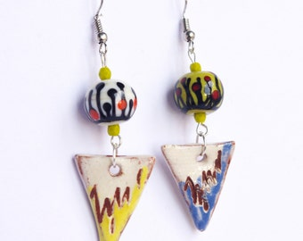 floral colorful lampwork bead earrings and ceramic triangle charm bright