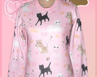 Kawaii Cat Sweater Fairy Kei Cat Sweatshirt Pastel Cat Jumper Kitten Kitty Pattern Cute Size XS Through 3XL *Made 2 Order*