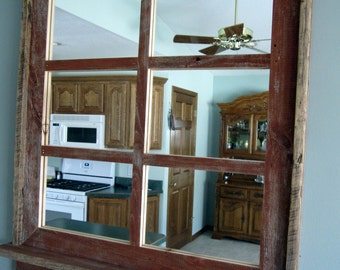 Barnwood Window Mirror with Shelf