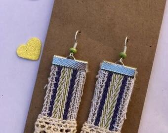 Vintage inspired crochet trim blue and green earrings
