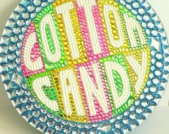 "Cotton Candy Sign Candy Buffet Dessert Decoration 16"" Sparkly Pink Blue Yellow Green Gems"