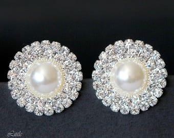 Bridal Stud Earrings Crystal Post Earrings Vintage Style Bridal Jewelry Rhinestone Bridal Earrings Art Deco Style Wedding Jewelry GRACE