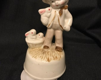 "Musical Figurine ""The Way We Were"" Boy with Bunny Rabbits SALE"