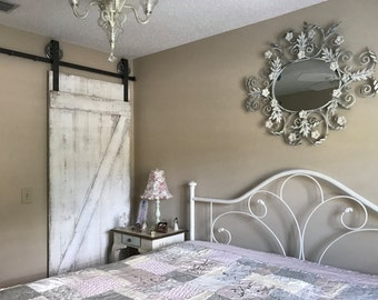 Shabby Chic Z Sliding Barn Door, White Barn Door