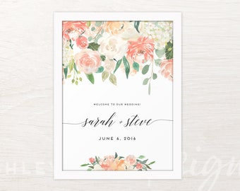 Welcome to Our Wedding Sign, Wedding Signs, Welcome to Our Beginning, Wedding Signs Welcome, Printable Wedding Sign, Floral, Watercolor