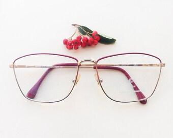 Roberta Di Camerino eyeglass / Vintage golden women's Frames / designer red eyeglasses / metal glasses made in italy / elegant spectacles