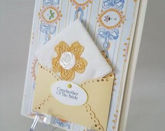Vintage Wedding Hankie Card Applique Keepsake Grandother Of The Bride Happy Tears  Accessory Appreciation Thank You Handkerchief