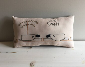 Primitive Live Simply Sheep Pillow