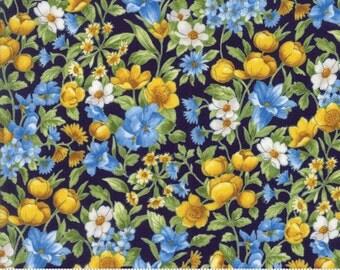 SUMMER BREEZE IV - #33283-16 - Bouquet - Dark Blue - Navy - by Sentimental Studios for Moda - Blues - Yellows - Classic
