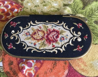 West Germany Made Fabric/Needlepoint Floral Design Manicure Case