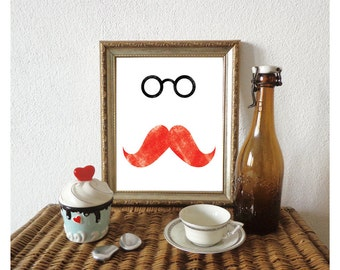 Moustache Print, Mens Gift, Moustache Art, Minimalist Art, Modern Decor, Gifts for Him, Gifts for Dad/ 8x10in