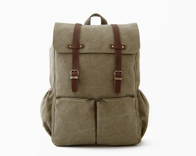 Diaper Backpack / Diaper Bag / Casual Daypacks / Canvas Backpack / Green Canvas / CARRYALL