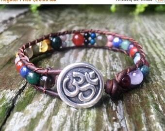 ON SALE 7 chakra beaded leather wrap bracelet rainbow with custom stones