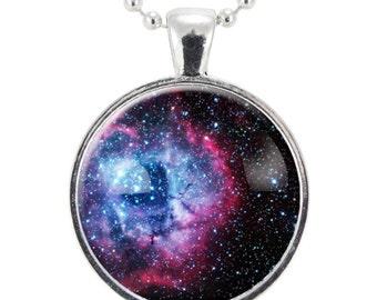 Rosette Nebula Necklace, Galaxy Jewelry, Universe Pendant (1165S25MMBC)