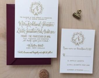 Initial Wedding Invitation Suite / Monogram Wedding Invitation / Gold Wedding Invitation Set / Custom Calligraphy Invitation / Wreath Invite