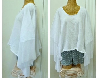 White Kimono Crop Top Coverup Boho Caftan Cover Up Mesh Sleeves Lagenlook Womens One Size Cotton Oversized