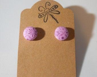 Purple Floral Button Earrings